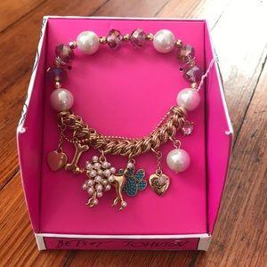 Betsey Johnson Pearl Poodle Charm Bracelet